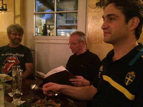 Elias Tsolakidis - Technical Director - European College of Sport Science Hans Hoppeler, former president  Thomas D after a long day building the program at the potato restaurant