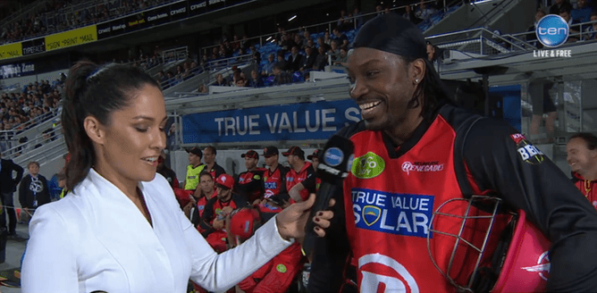 Cricketer Chris Gayle's comments to journalist Mel McLaughlin in a mid-game interview left her reportedly 'embarrassed, angry and upset'. Network Ten