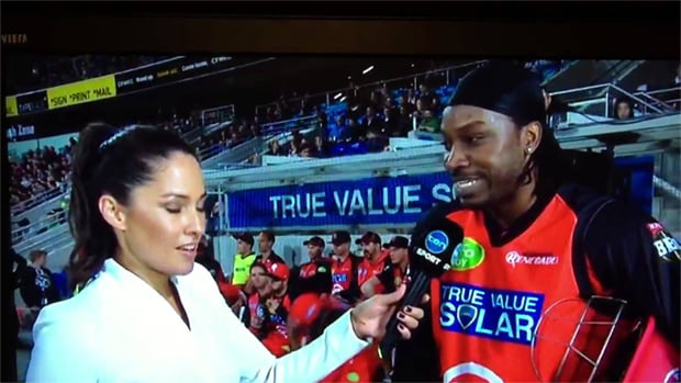 Cricketer Chris Gayle's comments to journalist Mel McLaughlin in a mid-game interview left her reportedly 'embarrassed, angry and upset'.