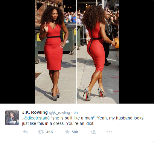 """Harry Potter' author J.K.Rowling tweeted a message to commemorate Serena Williams' victory at the 2015 Wimbledon tennis championships. Shortly after, Twitter user @diegtristan8 responded that the """" Main reason for [Williams'] success is that she is built like a man"""". Rowlings response, which highlights how sportswomen have to continually 'prove' their heterosexual femininity, went viral."""