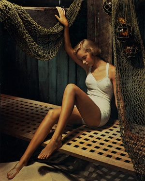 Anton Bruehl, Swimsuit advertisement 1951, dye-transfer colour photograph, National Gallery of Australia, Canberra. Gift of American Friends of the National Gallery of Australia Inc., New York NY USA made possible with the generous support of Anton Bruehl Jr, 2006.