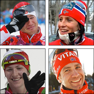 Mångmedaljörer: Dario Cologna, Marit Björgen, Darja Domratjeva och Ole Einar Björndalen.