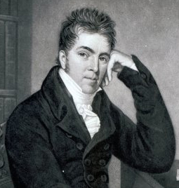 Pierce Egan, av George Sharples, gravyr av  Charles Turner. Beskuren.