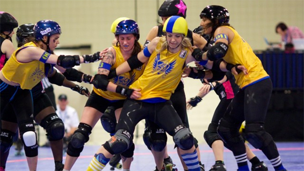 Roller derby has gone global…skaters compete in Stockholm.