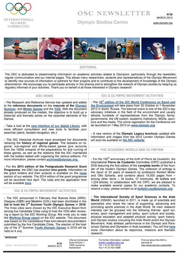 OSC-Newsletter-n-20-March-2013