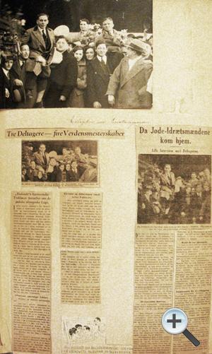 Side fra Abraham Kurlands scrapbog beskrivende reaktionen på Hakoahbrydernes præstationer ved Maccabiaden i 1932.