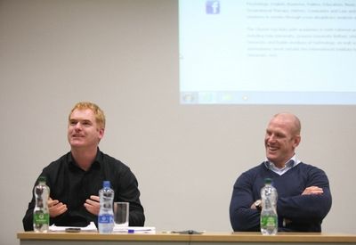 Jack Anderson, one of the speakers at the Summer Programme on International Sports Law. On his left, professional rugby player Paul O'Connell, in a discussion on Violence and Aggression in Sport at the University of Limerick.