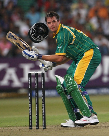 Albie Morkel of South Africa loses his helmet after being struck by a bouncer from Irfan Pathan of India during the ICC Twenty20 Cricket World Championship Super Eights match between South Africa and India at Kingsmead on September 20, 2007 in Durban, South Africa.