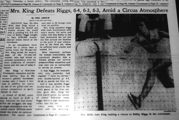 Trots den jippoartade inramningen av utmanarmatchen King-Riggs rapporterades resultatet och kommentarer kring matchen stort uppslaget även i seriösa dagstidningar världen över, t.ex. The New York Times. De större svenska tidningarna uppmärksammade också matchen. (The New York Times, 21/9 1973)