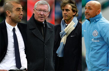 Managers of sport: From left to right: Roberto Di Matteo, Alex Ferguson, Roberto Mancini and Luciano Spalletti.