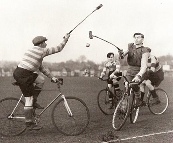 The game was invented by an Irishman, Richard J. Mecredy, in 1891. That same year the first cycle polo match was played between The Scalp and the Ohne Hast C.C.. Towards the end of the 19th century the game reached Great Britain, USA and France. The first international match was played between Ireland and England in 1901. Cycle polo was a demonstration sport at the 1908 London Olympics with Ireland winning the gold, beating Germany.