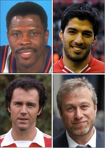 Left to right: Ewing, Suarez, Beckenbauer, Abramovich.
