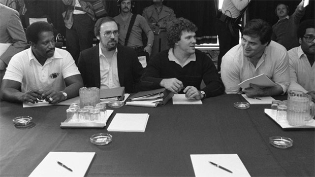 Negotiations in the National Football League players strike resumed Saturday in New York with player representatives, from left to right, Gene Upshaw, Dick Bertelsen, Stan White and Tom Condon