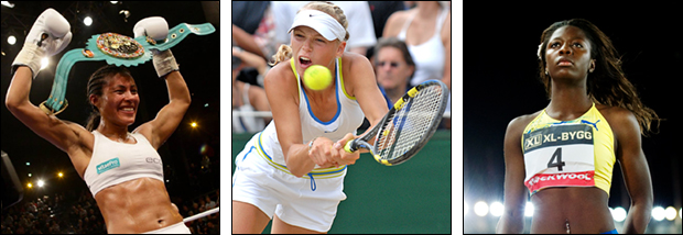 Cecilia Brækhus (boxing), Norway, Caroline Wozniacki (tennis), Denmark, Khaddi Sagnia (athletics), Sweden.