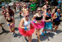 The annual Hot Undies Run benefits the Muscular Dystrophy Association and Undies for Everyone, in Houston TX.